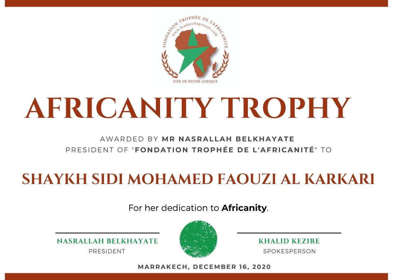 Fondation du Trophée de l'Africanité awards the Trophy of Africanity to Shaykh Mohamed Faouzi Al-Karkari